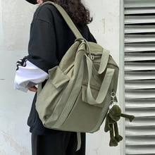 Nylon Backpack Travel-Bag Shoulder Teenage-Girl HOCODO Waterproof Solid-Color Women's