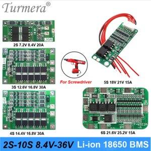 Turmera 2S 3S 4S 5S 6S 10S BMS 18650 Литий Батарея защиты доска для 7,2 V 12V 16,8 V 18V 21V, алюминиевая крышка, 25В е-байка 36В отвертка батареи Применение