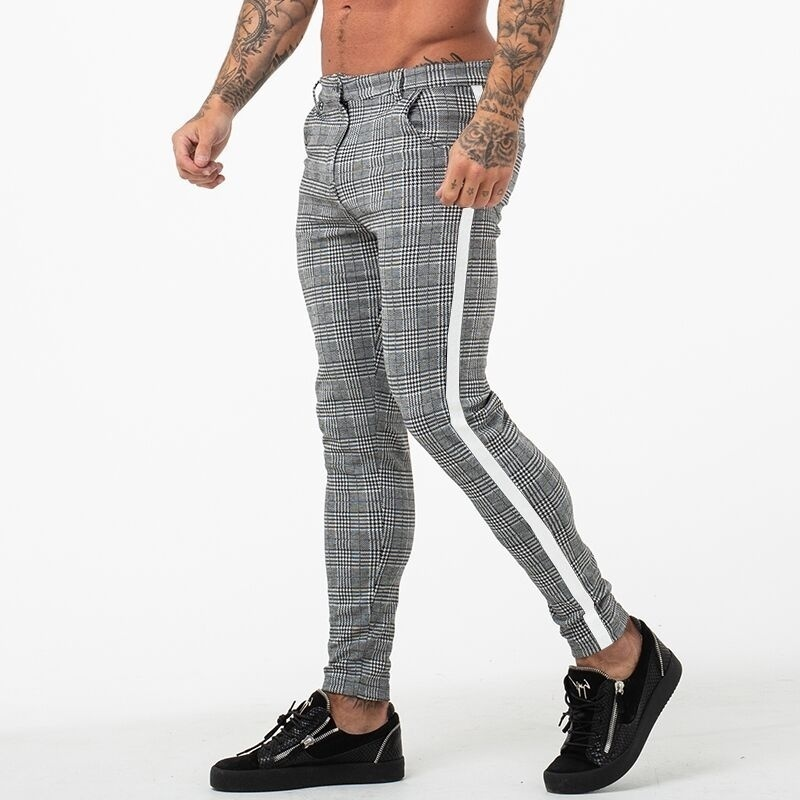 Men/'s Slim fit Casual Plaid Stretch Trousers Skinny Stripes pencil Pants Ch
