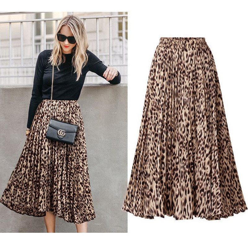 Skirts Womens Faldas Mujer Moda 2019 Leopard Pleated High Waist Green Chiffon Saias Midi Para As Mulheres Falda Plisada Mujer