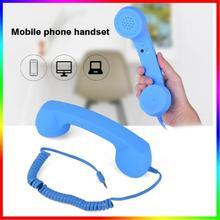 Teléfono Celular con cable antiguo Anti-radiación de 3,5mm con micrófono para iPhone smartphones 2019 teléfono móvil