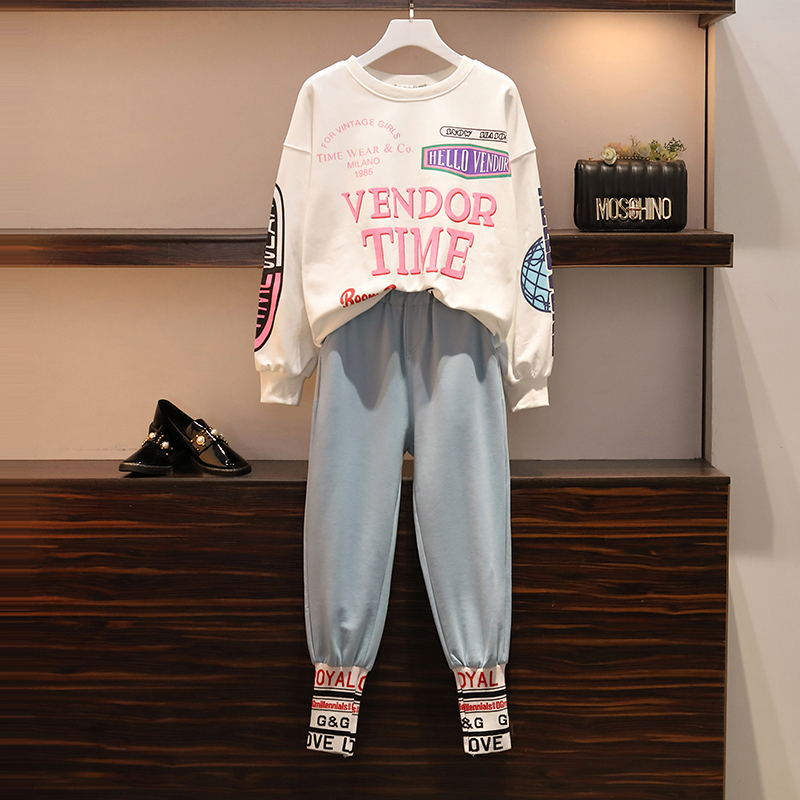 Fashion Autumn Women Two Pieces Set Long Sleeve Sexy Tops And Pants Suit Letters Print Casual Hip Hop Lady Tracksuits Plus Size - 2