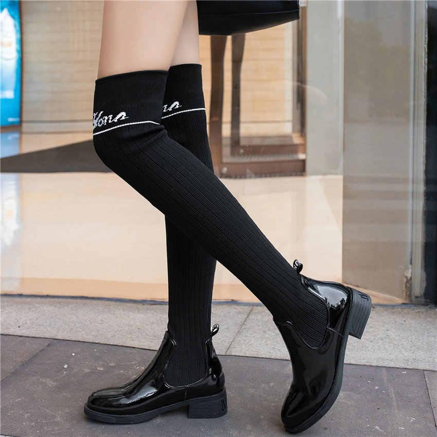 נשים שחור עור סריגה גרביים נמוך העקב מעל הברך גבוהה צבאי מגפי נמתח ארוך פיר פלטפורמת פאנק משאבות נעליים