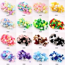 Macaron Pompom Fur Balls 10mm 15mm TO 30mm Pompones DIY Soft Pom Poms Craft Kid Toys Wedding Decor Glue on Cloth Accessories