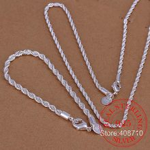 Wholesale Silver Plated Jewelry Set,Fashion Bridal Accessories,Twisted Rope Necklace Bracelet For women Men Two-pieces set(China)