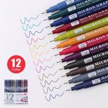 12 Colores/conjunto Sketch micras pluma 0,5mm Superior pluma de dibujo con aguja bien de Pigma dibujo Manga Anime marcador de color fino