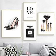 Mulher posters de salto alto perfume maquiagem arte da parede impressão nórdico moda pintura em tela moderno meninas fotos quarto decoração