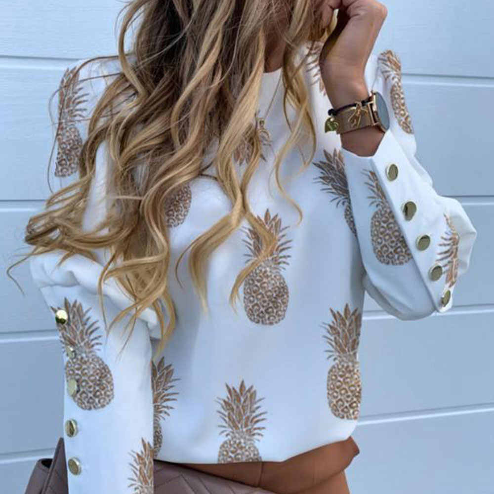 Jocoo Jolee camicetta da donna a maniche lunghe con bottoni in metallo camicia da donna per ufficio top con stampa ananas casual camicette larghe casual taglie forti