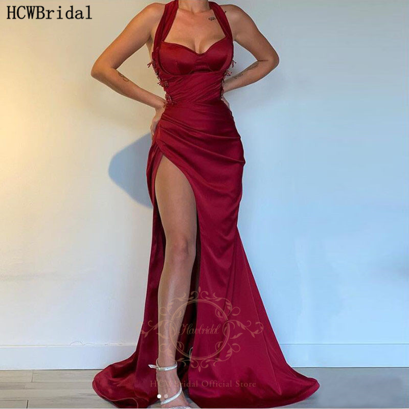 Sexy Burgundy African Prom Dresses Mermaid High Slit Sweetheart Long Black Girls Plus Size Graduation Dress Party Evening Gowns