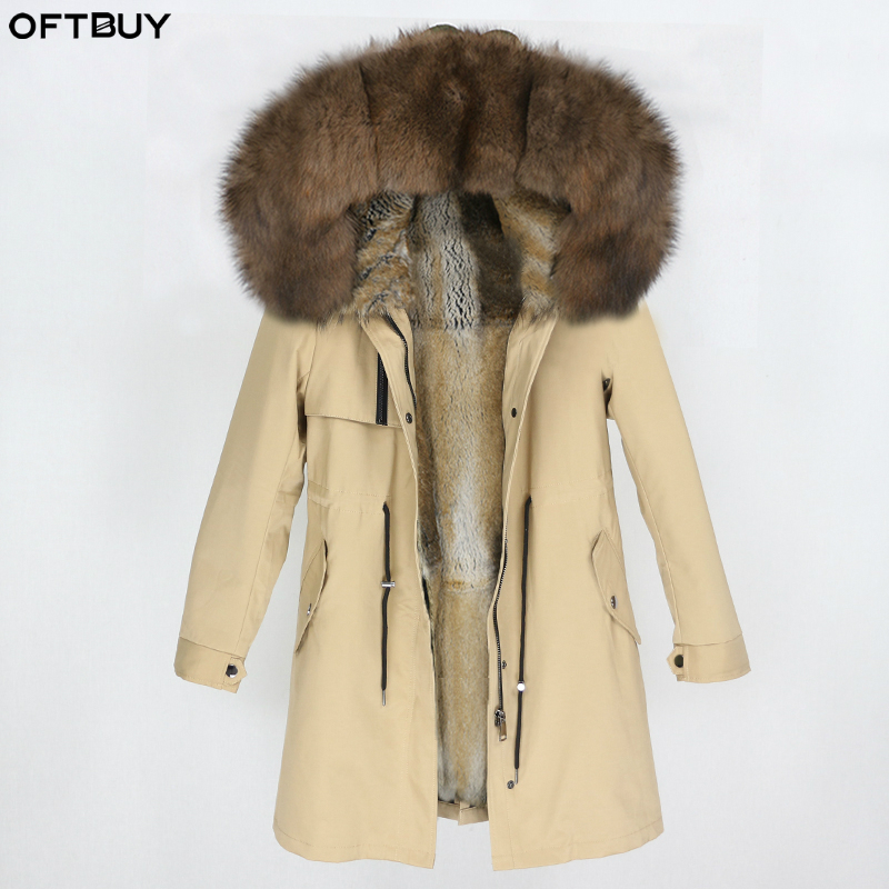 OFTBUY 2019 Real Fox Fur Collar Hood Parka Winter Jacket Women Natural Rabbit Fur Inside Thick Warm Outerwear Streetwear Luxury