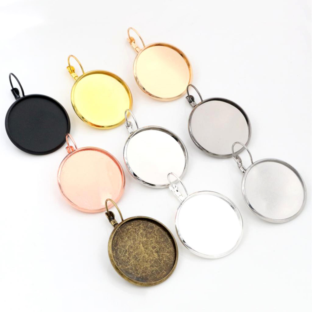 12mm Cabochon Settings Various Colours Plated French Lever Back Earrings Base