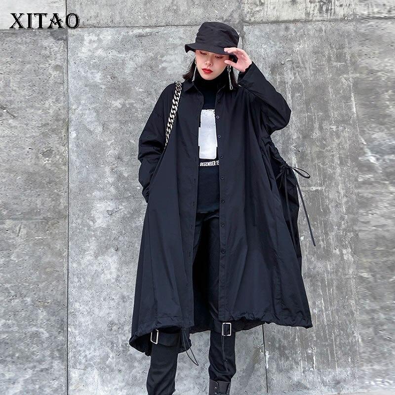 XITAO Long Drawstring Trench Women Single Breast Black Vintage Pocket Goddess Fan Casual Minority Loose Plus Size Coat XJ3752
