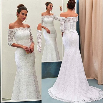 цена на NUOXIFANG Princess Lace Off-the-shoulder Mermaid Wedding Dress Boat Neckline Half Sleeves Lace Bridal Dresses robe de soiree