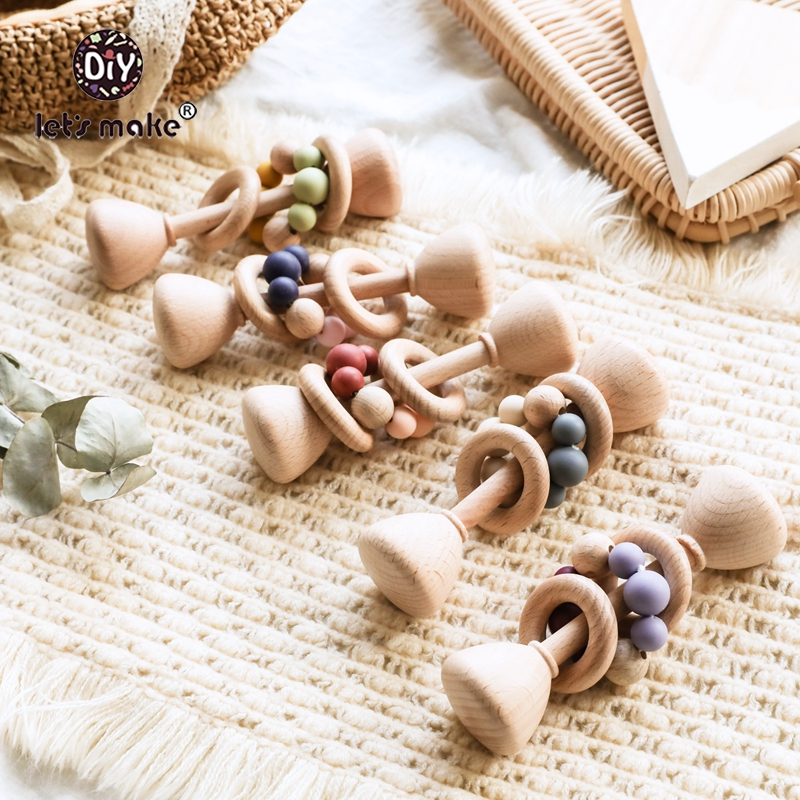 Let's Make Wooden Rattle 5pc Beech Bear Hand Teething Wooden Ring Baby Rattles Play Gym Montessori Toy Stroller Educational Toys