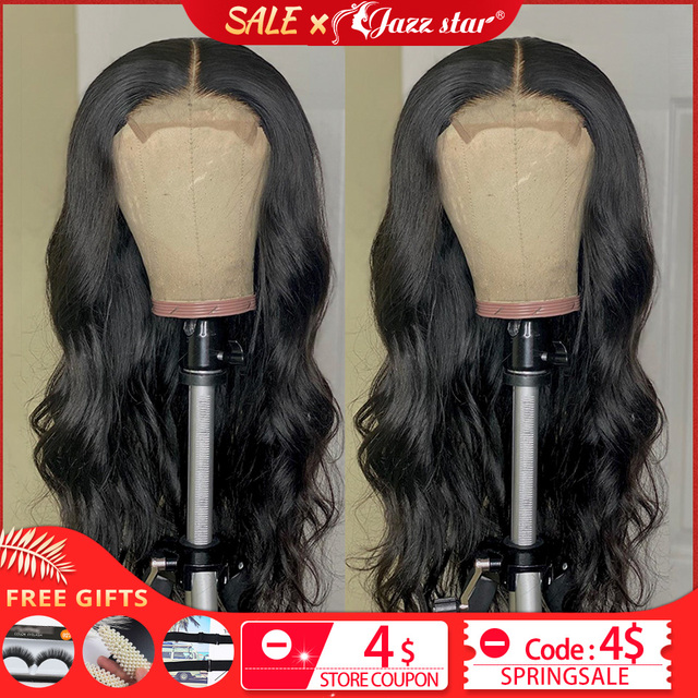 $ US $44.28 Brazilian Body Wave Wig 4x4 Lace Closure Wig Human Hair Wigs Pre-Plucked with Baby Hair Non-Remy Jazz Star Hair 150% Density