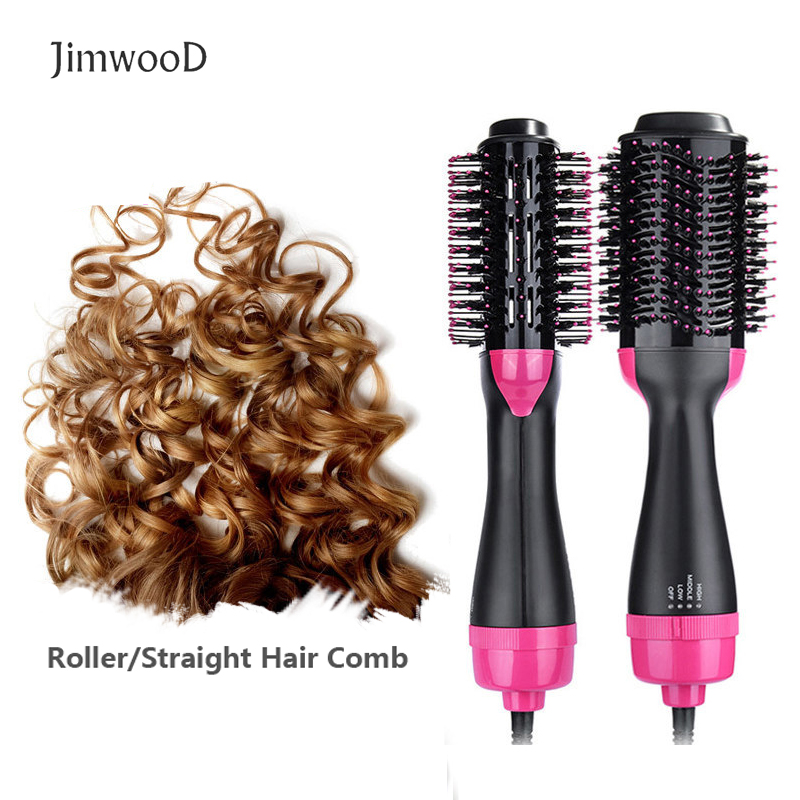 Electric Hair Comb Roller/straighten Curler 3in1 One Step Hair Dryer Volumizer Portable Hot Air Brush Anti Frizz Styler