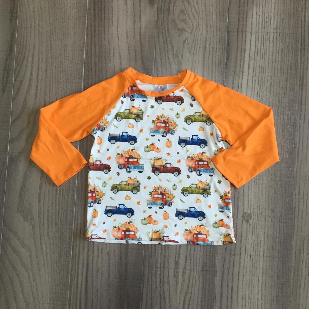 Girlymax Fall Halloween Thanksgiving orange truck pumpkin cotton top long sleeve t-shirt baby boys raglans boutique kidswear 1