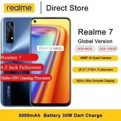 Realme 7 versão global nfc telefones celulares 6.5 fffhd + helio g95 jogos octa núcleo 16mp câmera frontal 5000mah android smartphone
