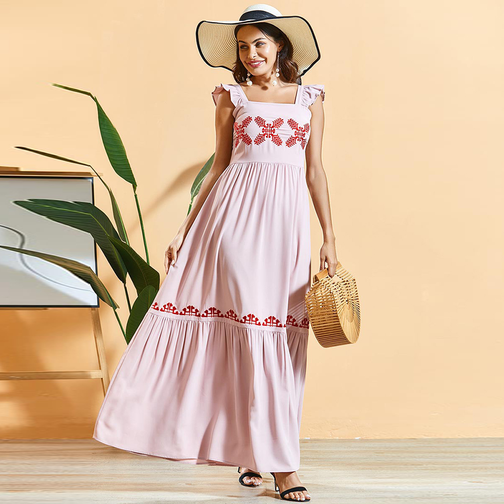 Siskakia Bohemian Summer Dress Sweet Pink Pleated Embroidered Maxi A Line Dresses Ruffle Patchwork Sleeveless Holiday Clothing
