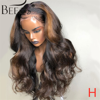 Beeos 13*6 180% Deep Part Lace Front Human Hair Wigs Body Wave Ombre Blonde Color Pre Plucked Bleached Knots Brazilian Remy Hair