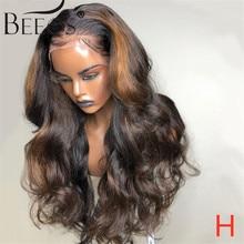 Beeos 4*4 180% parrucche per capelli umani in pizzo con parte profonda in pizzo onda del corpo Ombre colore biondo Pre pizzicato nodi sbiancati capelli Remy brasiliani