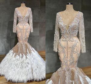 Image 1 - ערבית שמפניה בת ים שמלות כלה עם נוצות סקסי לראות דרך תחרת Appliqued קריסטל חרוזים בתוספת גודל שמלת כלה