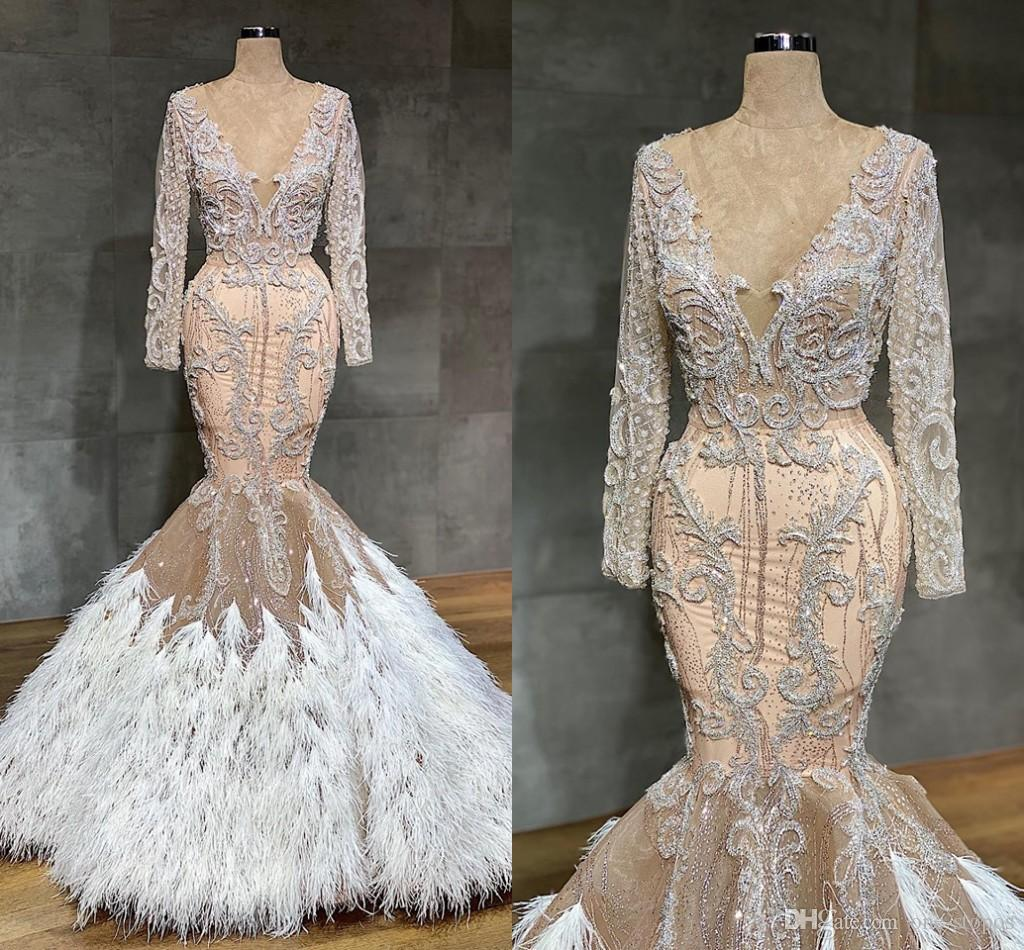 Arabic Champagne Mermaid Wedding Dresses With Feathers Sexy See Through Lace Appliqued Crystal Beaded Plus Size Bridal Gown