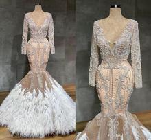 Robe de mariée sirène avec plumes, couleur couleur Champagne arabe, robe de mariée Sexy en dentelle transparente, cristal, perles, grande taille