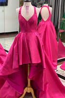 Unique High Low Style Formal Evening Dress Halter Neck Women Prom Gown Custom Made