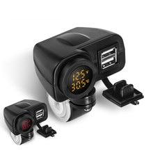 12 V-24 V Dual USB Автомобильное зарядное устройство Водонепроницаемый мотоцикл руль Quick Зарядное устройство адаптер Питание гнездо Цифровой температурный светодиодный вольтметр