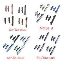 Novo botão de volume lateral + power on/off buttton chave conjunto para samsung galaxy note 8 s8 s9 s10 mais peças reposição
