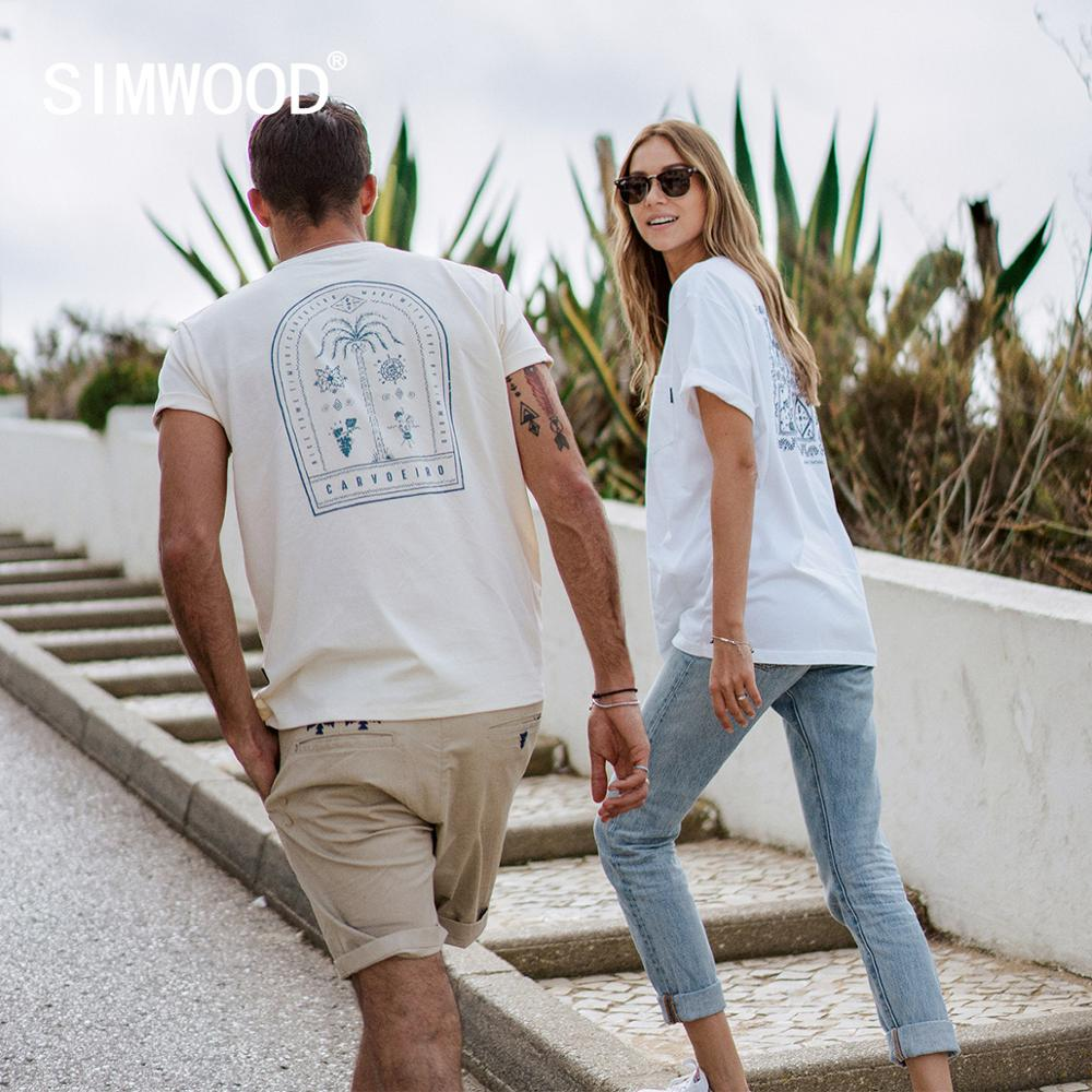 SIMWOOD 2020 Summer New Back Print T-shirt Men Plus Size 100% Cotton Breathable Tops Fashion Embroidery T Shirts SJ130029