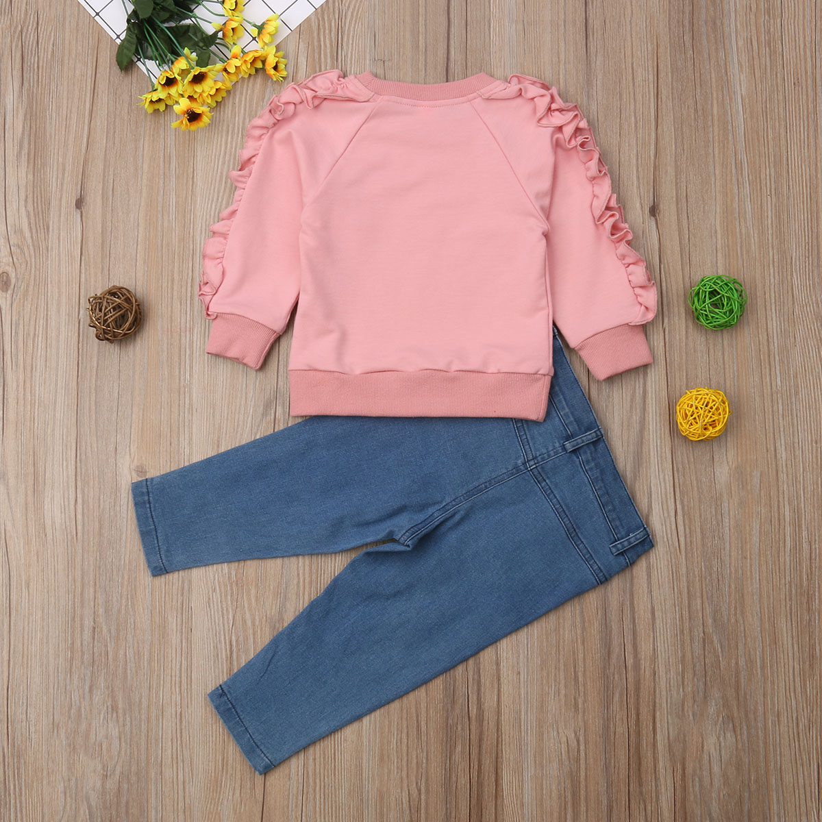 Pudcoco New Fashion Toddler Kids Baby Girl Ruffle Tops Shirt Denim Pants Jeans Warm Outfits Clothes For Girls Repemm