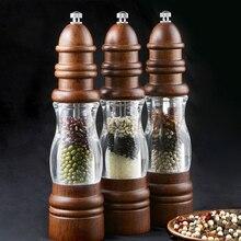 Антикварная мельница для соли и перца, шлифовальная машина из твердой древесины и акриловой бутылки, ручной керамический шлифовальный механизм для специй, кухонные мельницы для барбекю