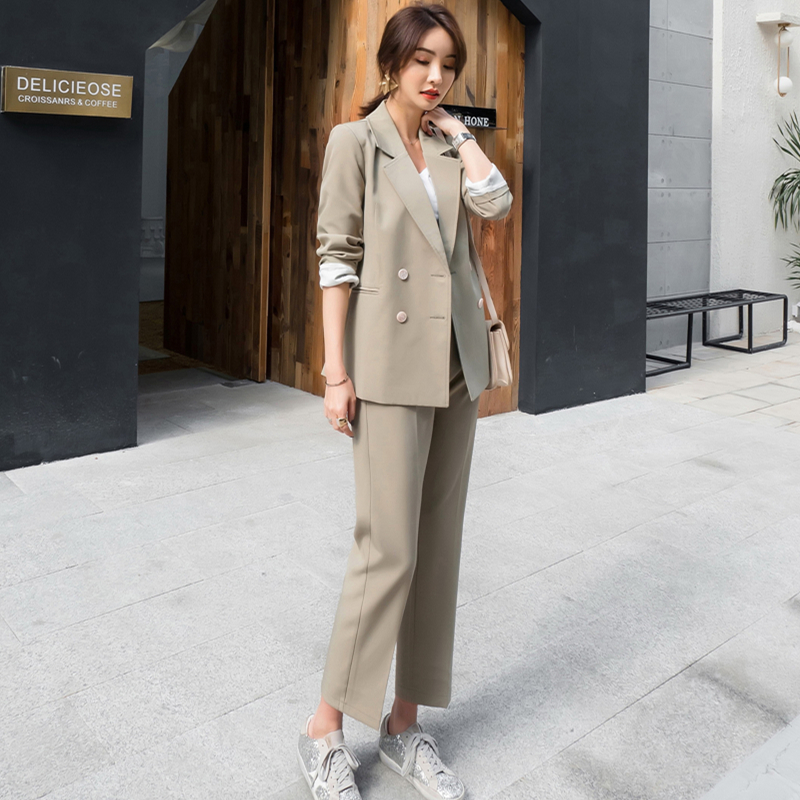 Women Suit 2 Piece Sets Casual Blazer High Waist Pant Office Lady Notched Jacket Pant  Suits Set