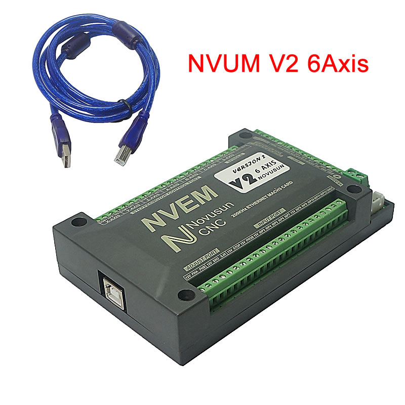 6 Axis NVUM V2 Mach3 USB Controller Card 200KHz Breakout Board For Diy CNC Engraver Machine Wood Router