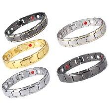 Здоровье магнитотерапия браслет для мужчин ювелирные изделия черный 316L нержавеющая сталь 4 браслеты из элементов и браслеты