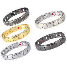 Health Magnetic Therapy Bracelet Men Jewelry Black 316L Stainless Steel 4 Elements Bracelets & Bangles(China)