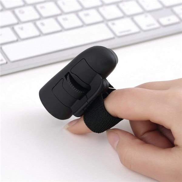 1pc Black 2.4GHz USB Wireless Finger Rings Optical Mouse 1200Dpi For PC Laptop Desktop Wholesale Store