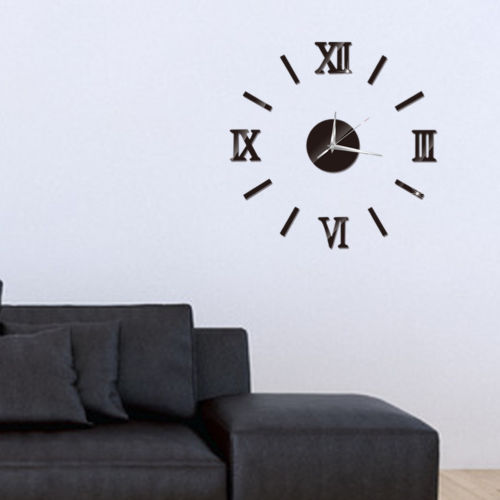 Modern 3D DIY Roman Numerals Mirror Fashion Art Wall Clock Sticker Manual Installation Home Office Home Decoration