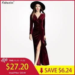 2019 осенне-зимние Вечерние платья женские элегантные длинные макси сексуальные V шеи повязки Bodycon плиссированные с разрезом длина до пола