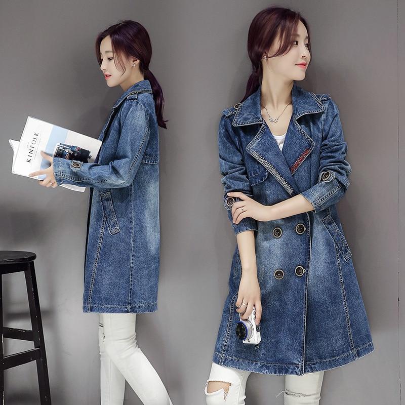 Casaco Feminino Denim   Trench   Coat Korean Style Vintage Womens   Trench   Coats Woman Clothes Abrigo Mujer Windbreaker KJ131