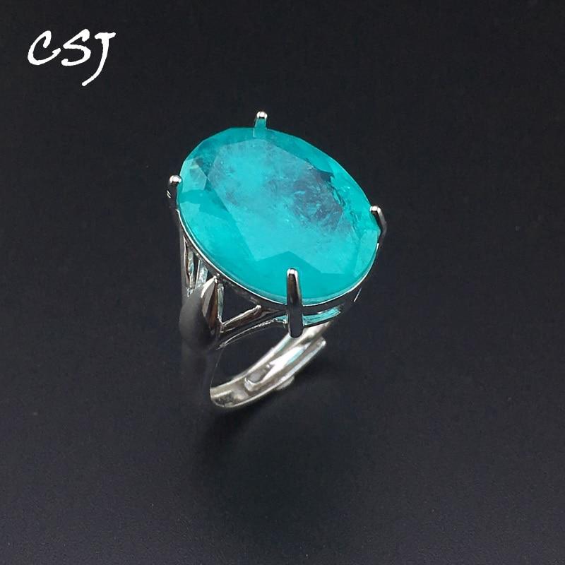 CSJ Elegant Paraiba Tourmaline Ring Sterling Silver Created Gemstone Women Lady Wedding Engagment Party Gift Box