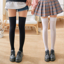 Kobiety słodki pasek długie pończochy Over Knee zakolanówki pończochy czarny/biały Sexy ciepłe kolana wysokie bawełniane Overknee Sockings Medias