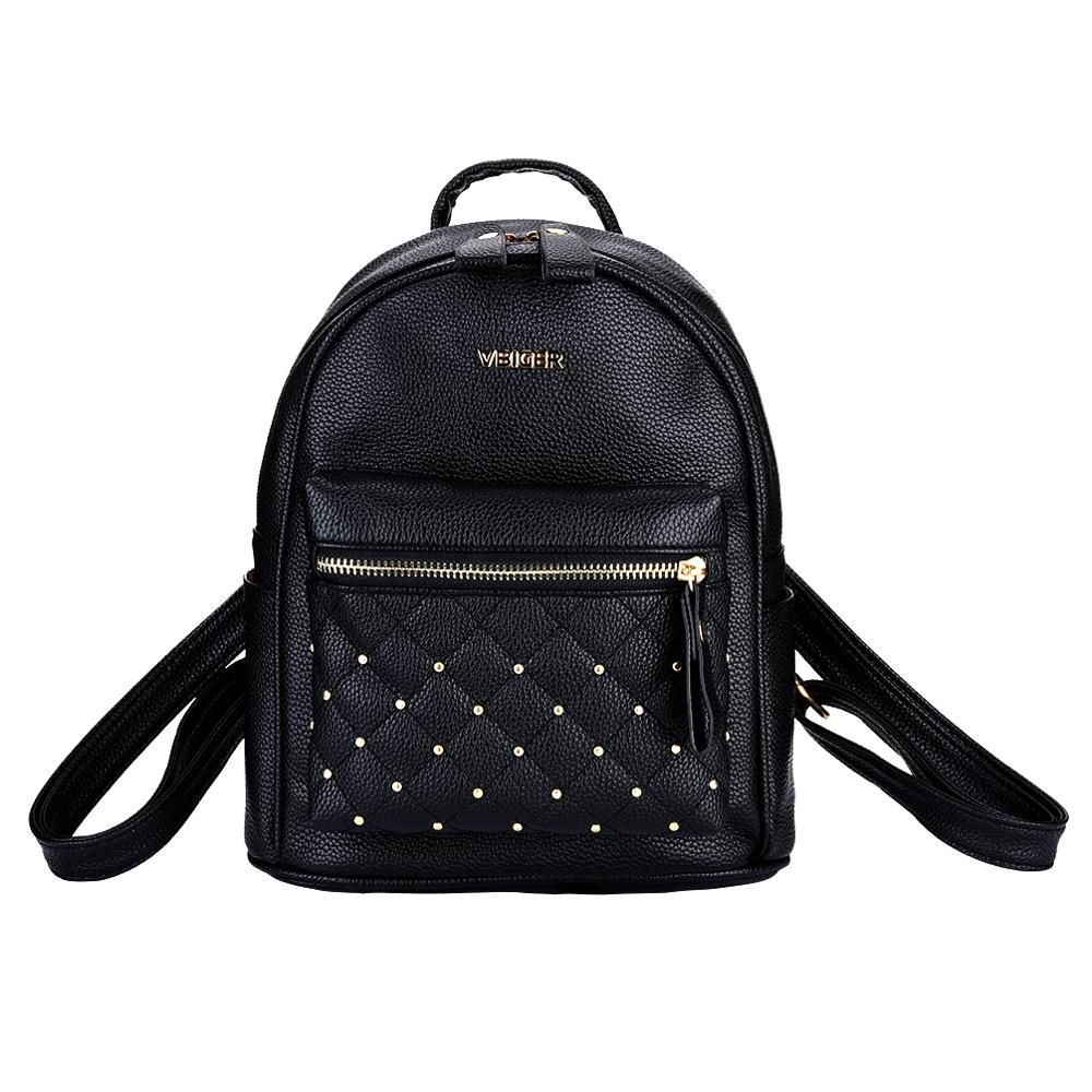 Vbiger Pink Backpack Women Girls Ladies Female Fashion PU Leather Bagpack Bags Backpack For Teenage Girls With Purse