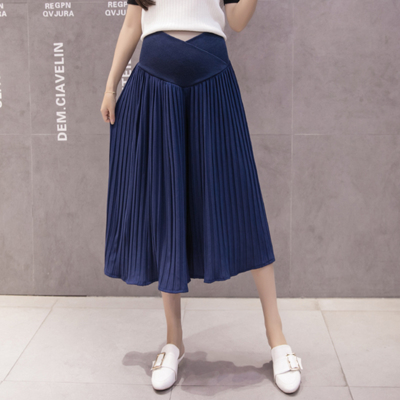 41# Wide Leg Pleated Chiffon Maternity Capris Spring Summer Across Belly Short Pants Clothes for Pregnant Women Pregnancy Skirts