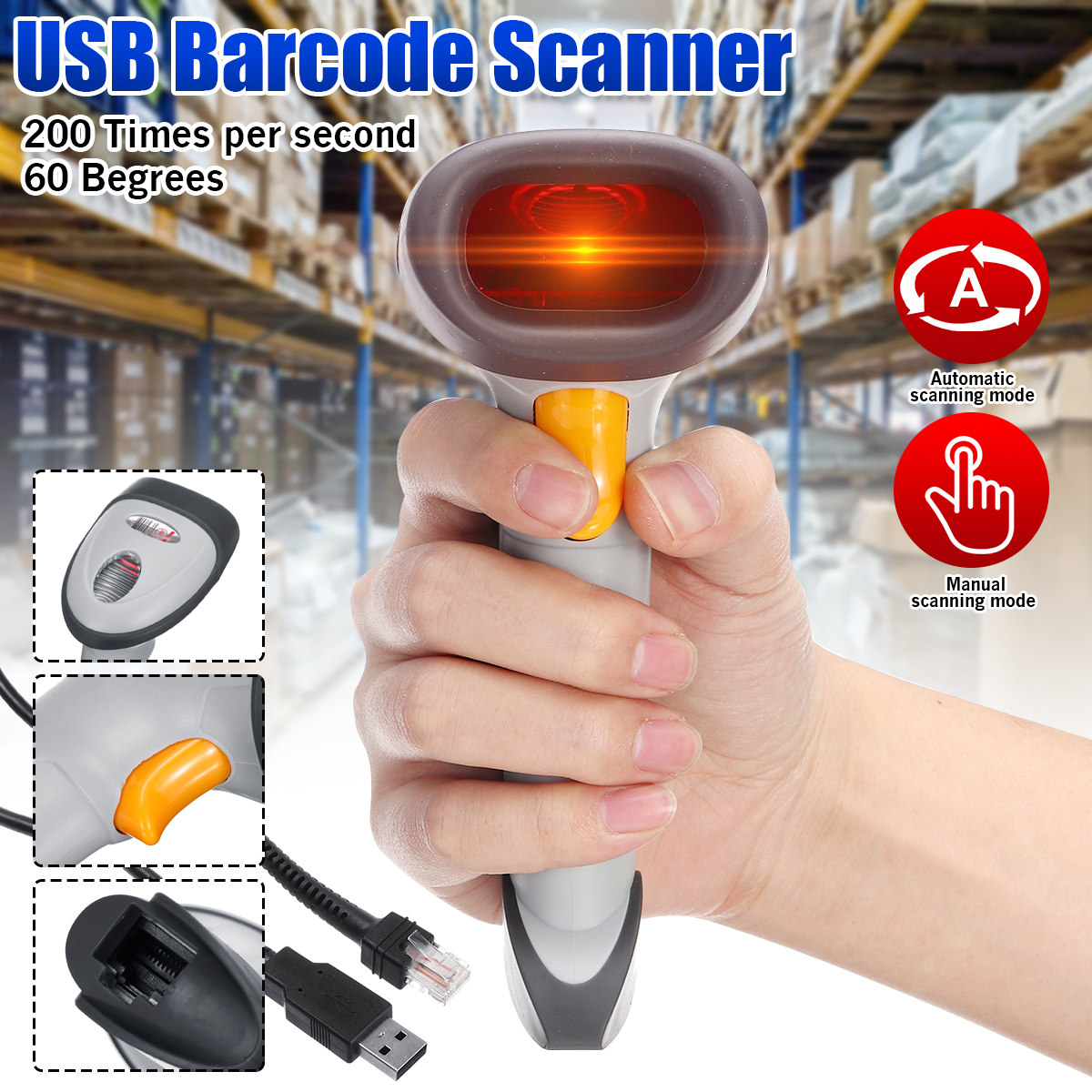 USB ความเร็วสูงอัตโนมัติ Barcode Scanner จัดการ 1D สายบาร์โค้ดเลเซอร์สแกนเนอร์-ใน เครื่องสแกน จาก คอมพิวเตอร์และออฟฟิศ บน Alidwantop Technology CO., LTD