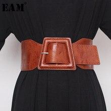 EAM – ceinture en cuir Pu, grande boucle fendue, longue et large, pour femmes, nouvelle tendance, assortie, printemps automne 2021, 1Y878