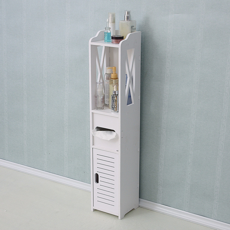 Bathroom Cabinet Floor-Standing Bathroom Toilet Furniture Cabinet White Wood-Plastic Board Cupboard Shelf Tissue Storage Rack