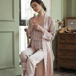 Халат с длинным рукавом, элегантный женский халат, одежда для сна, комплект из 3 предметов, Пижамный халат, Атласный Костюм